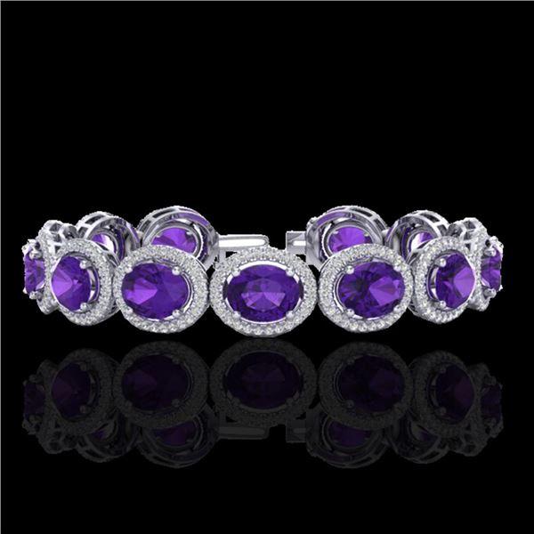 24 ctw Amethyst & Micro Pave VS/SI Diamond Bracelet 10k White Gold - REF-360M2G