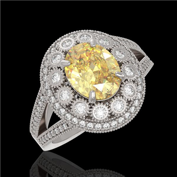 3.75 ctw Canary Citrine & Diamond Victorian Ring 14K White Gold - REF-129W3H