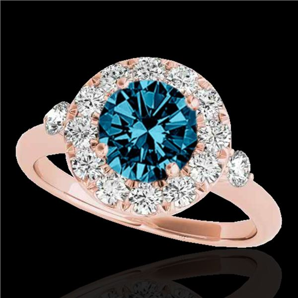 1.5 ctw SI Certified Fancy Blue Diamond Solitaire Halo Ring 10k Rose Gold - REF-129K5Y