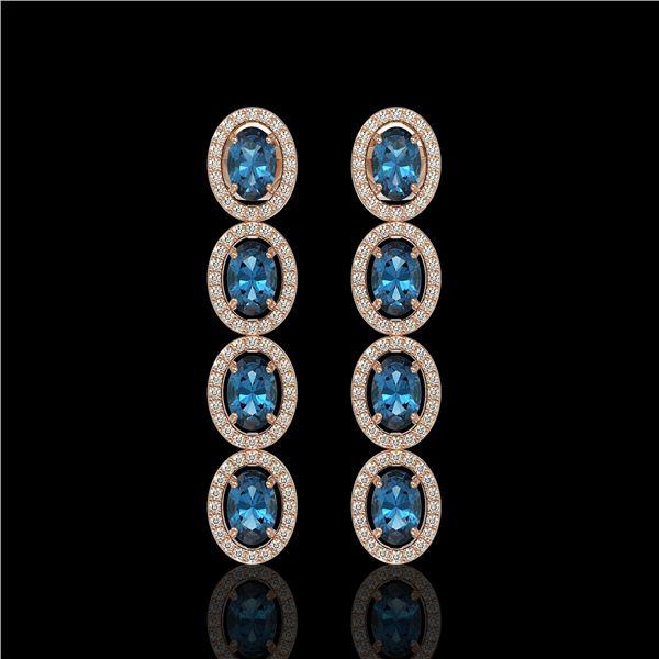 6.28 ctw London Topaz & Diamond Micro Pave Halo Earrings 10k Rose Gold - REF-143Y6X