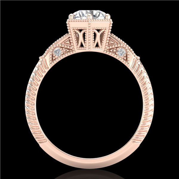 1.17 ctw VS/SI Diamond Solitaire Art Deco Ring 18k Rose Gold - REF-381X8A