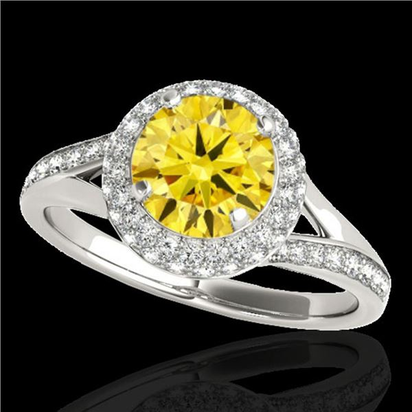 1.85 ctw Certified SI/I Fancy Intense Yellow Diamond Ring 10k White Gold - REF-250R9K