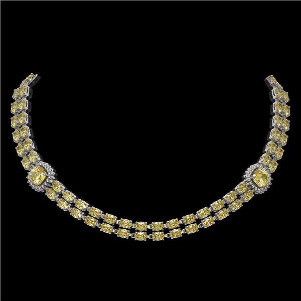 31.61 ctw Citrine & Diamond Necklace 14K White Gold - REF-527X3A