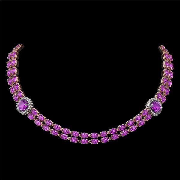 31.91 ctw Amethyst & Diamond Necklace 14K Rose Gold - REF-527W3H