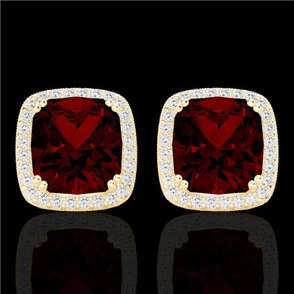 6 ctw Garnet & Micro Pave VS/SI Diamond Halo Earrings 18k Yellow Gold - REF-76H4R