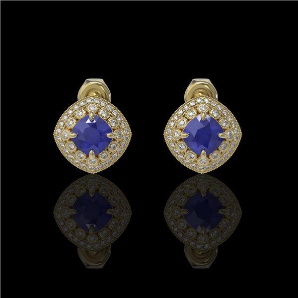 4.99 ctw Certified Sapphire & Diamond Victorian Earrings 14K Yellow Gold - REF-117Y3X