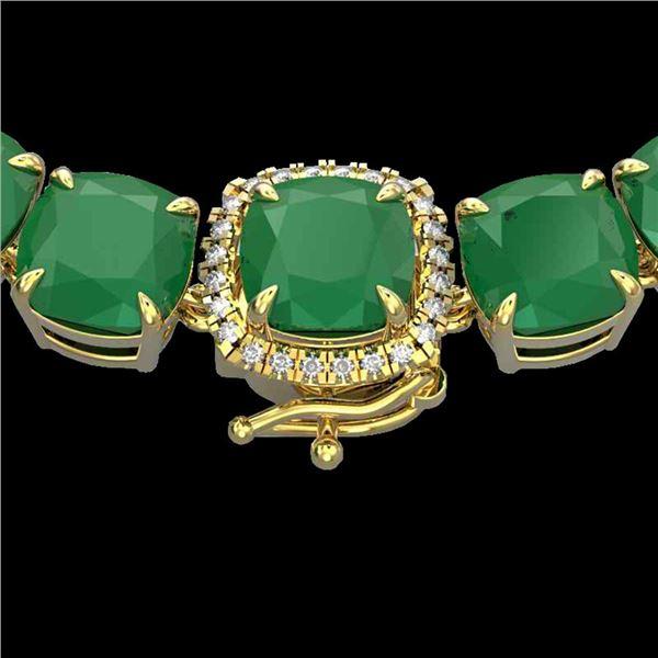 116 ctw Emerald & VS/SI Diamond Halo Micro Necklace 14k Yellow Gold - REF-981M8G