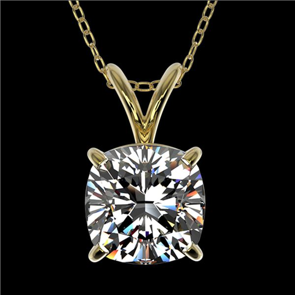 1.25 ctw Certified VS/SI Quality Cushion Diamond Necklace 10k Yellow Gold - REF-325M2G