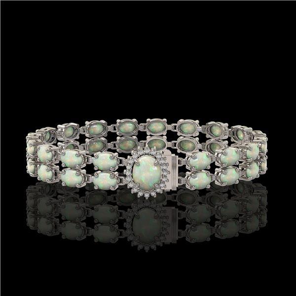 13.69 ctw Opal & Diamond Bracelet 14K White Gold - REF-263F6M