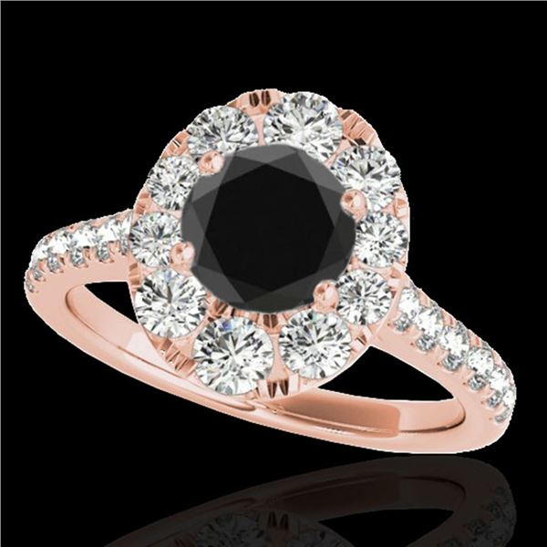 2 ctw Certified VS Black Diamond Solitaire Halo Ring 10k Rose Gold - REF-76A8N