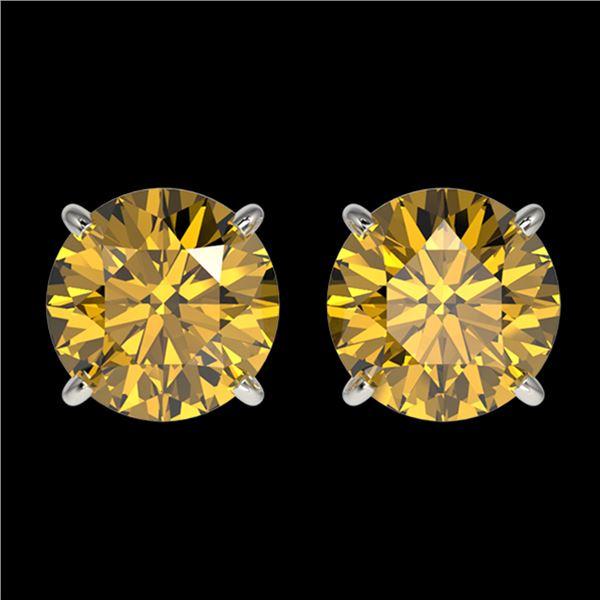 2.04 ctw Certified Intense Yellow Diamond Stud Earrings 10k White Gold - REF-294X5A