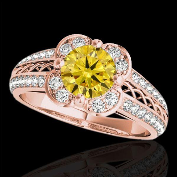 1.5 ctw Certified SI/I Fancy Intense Yellow Diamond Ring 10k Rose Gold - REF-190W9H