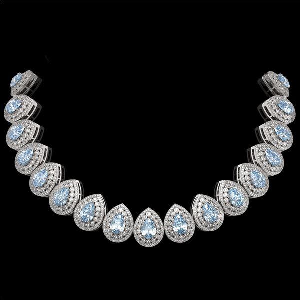 92.83 ctw Aquamarine & Diamond Victorian Necklace 14K White Gold - REF-3851N5F