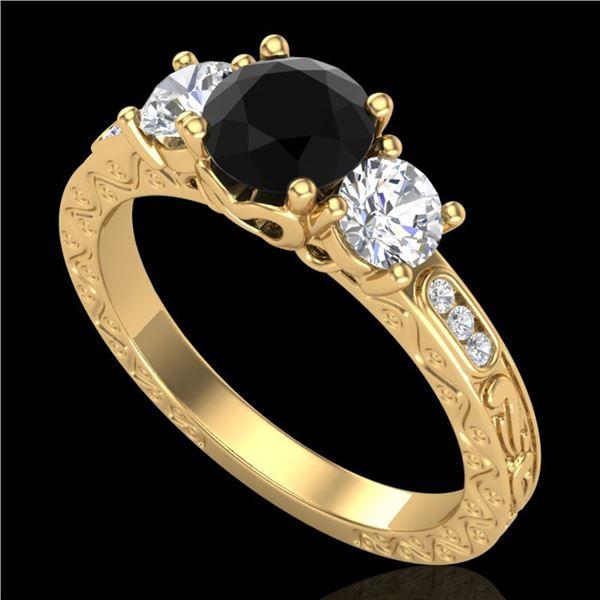 1.41 ctw Fancy Black Diamond Art Deco 3 Stone Ring 18k Yellow Gold - REF-138G2W