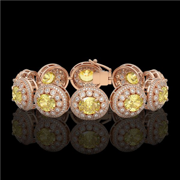 40.37 ctw Canary Citrine & Diamond Victorian Bracelet 14K Rose Gold - REF-1186A4N