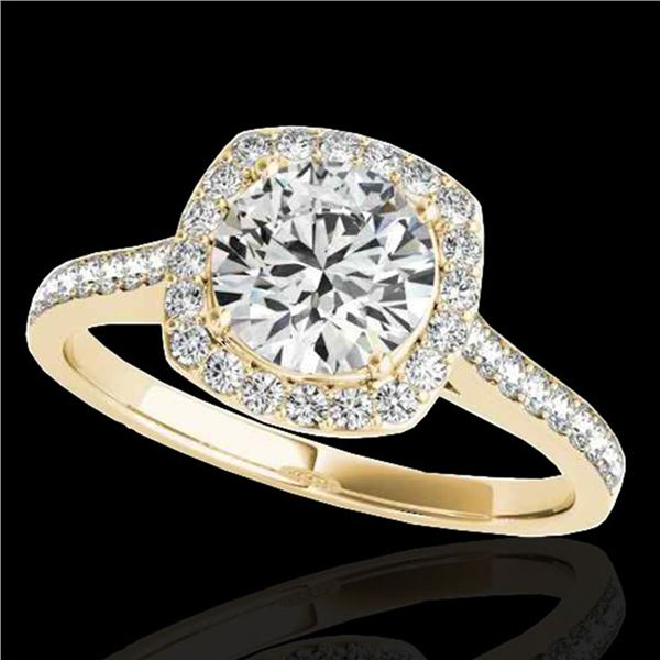 1.4 ctw Certified Diamond Solitaire Halo Ring 10k Yellow Gold - REF-190G9W