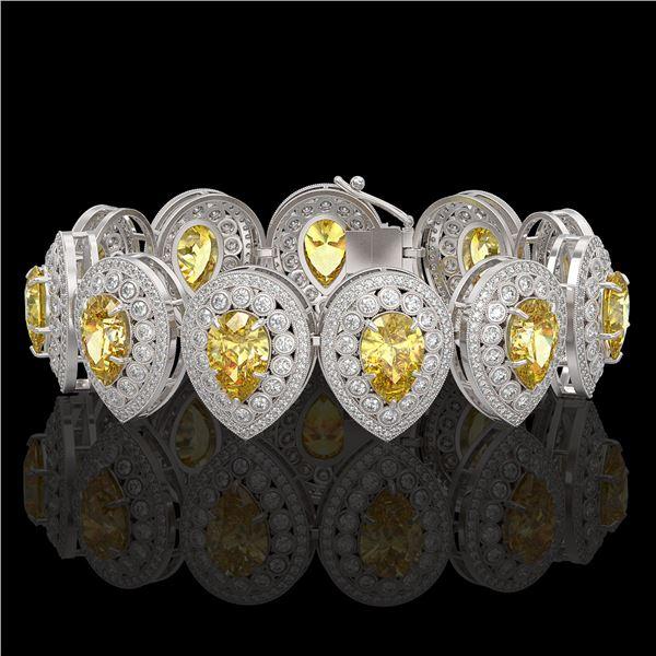 46.44 ctw Canary Citrine & Diamond Victorian Bracelet 14K White Gold - REF-1328Y2X