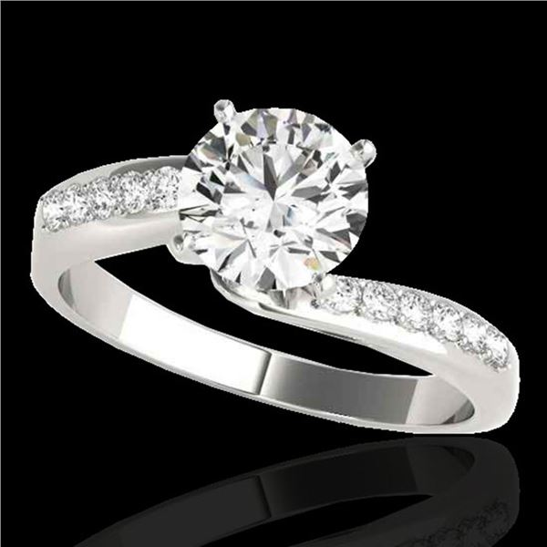 1.15 ctw Certified Diamond Bypass Solitaire Ring 10k White Gold - REF-184W3H