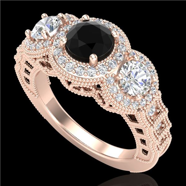 2.16 ctw Fancy Black Diamond Art Deco 3 Stone Ring 18k Rose Gold - REF-254A5N