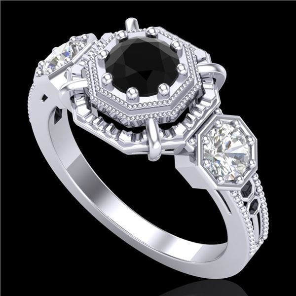 1.01 ctw Fancy Black Diamond Art Deco 3 Stone Ring 18k White Gold - REF-96W4H