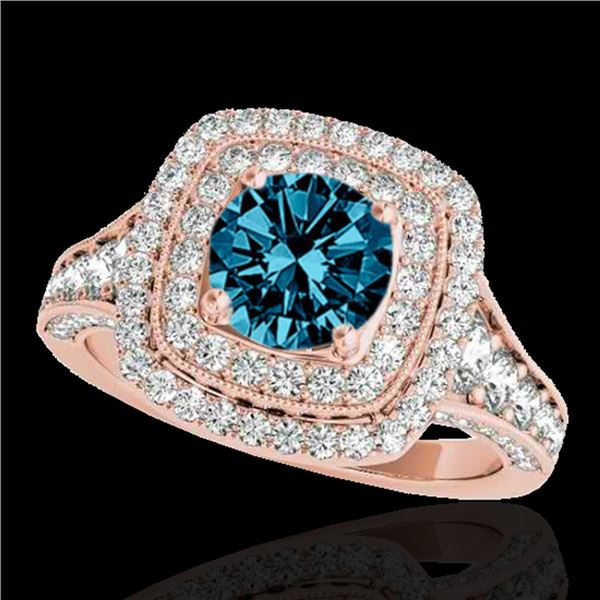 2 ctw SI Certified Blue Diamond Solitaire Halo Ring 10k Rose Gold - REF-170Y5X
