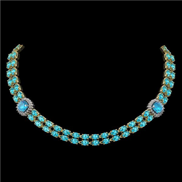 38.95 ctw Swiss Topaz & Diamond Necklace 14K Yellow Gold - REF-527R3K