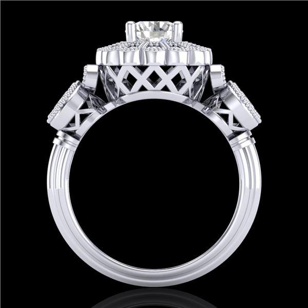 1.5 ctw VS/SI Diamond Solitaire Art Deco 3 Stone Ring 18k White Gold - REF-300H2R