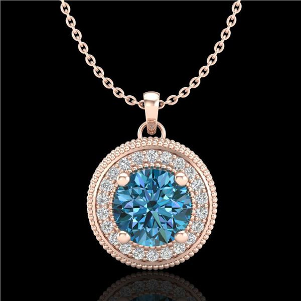 1.25 ctw Fancy Intense Blue Diamond Art Deco Necklace 18k Rose Gold - REF-132W8H