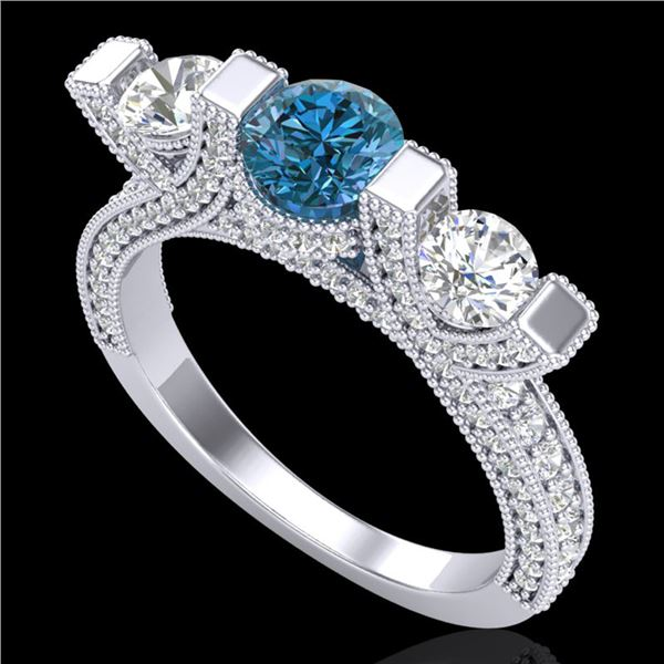 2.3 ctw Fancy Intense Blue Diamond Micro Pave Ring 18k White Gold - REF-236W4H