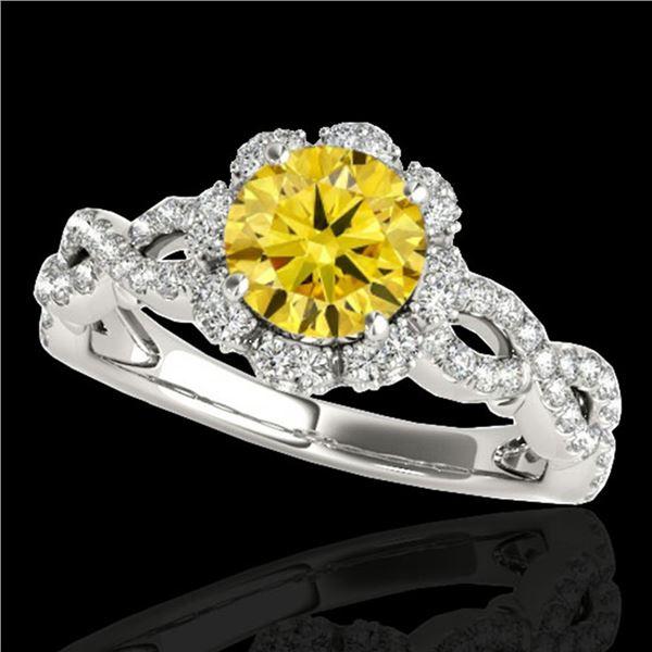 1.69 ctw Certified SI/I Fancy Intense Yellow Diamond Ring 10k White Gold - REF-197G8W