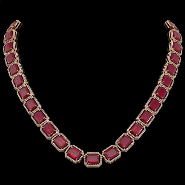 84.94 ctw Ruby & Diamond Micro Pave Halo Necklace 10k Rose Gold - REF-930F2M