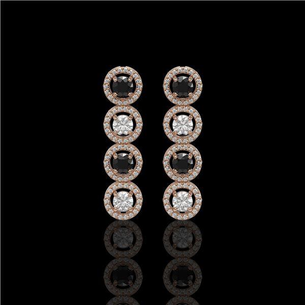 3.84 ctw Black & Diamond Micro Pave Earrings 18K Rose Gold - REF-259R2K