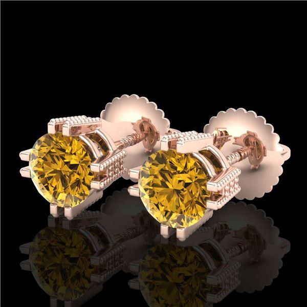 1.07 ctw Intense Fancy Yellow Diamond Art Deco Earrings 18k Rose Gold - REF-172W8H