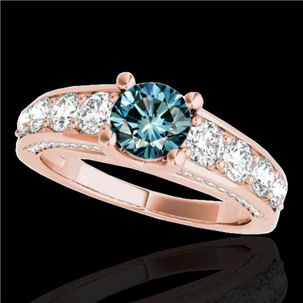 2.55 ctw SI Certified Fancy Blue Diamond Solitaire Ring 10k Rose Gold - REF-190W9H