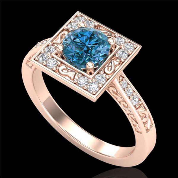 1.1 ctw Intense Blue Diamond Engagment Art Deco Ring 18k Rose Gold - REF-169R3K