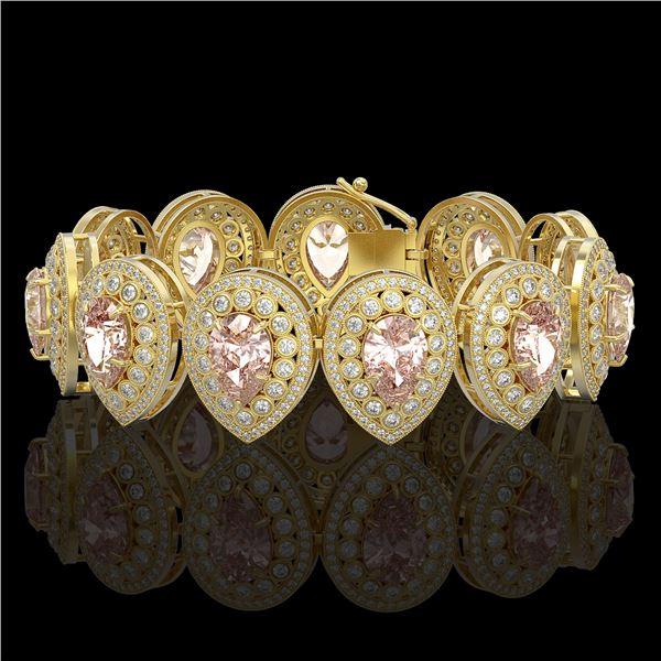 47.64 ctw Morganite & Diamond Victorian Bracelet 14K Yellow Gold - REF-2044A4N