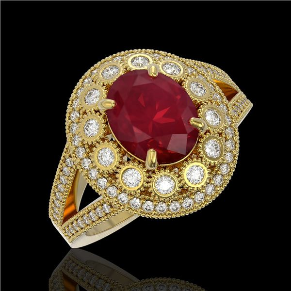 4.55 ctw Certified Ruby & Diamond Victorian Ring 14K Yellow Gold - REF-143N6F
