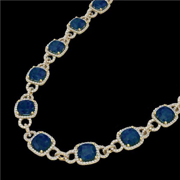 56 ctw Sapphire & Micro VS/SI Diamond Eternity Necklace 14k Yellow Gold - REF-960R2K