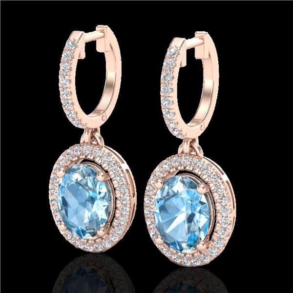 4.25 ctw Sky Blue Topaz & Micro VS/SI Diamond Earrings 14k Rose Gold - REF-107X3A