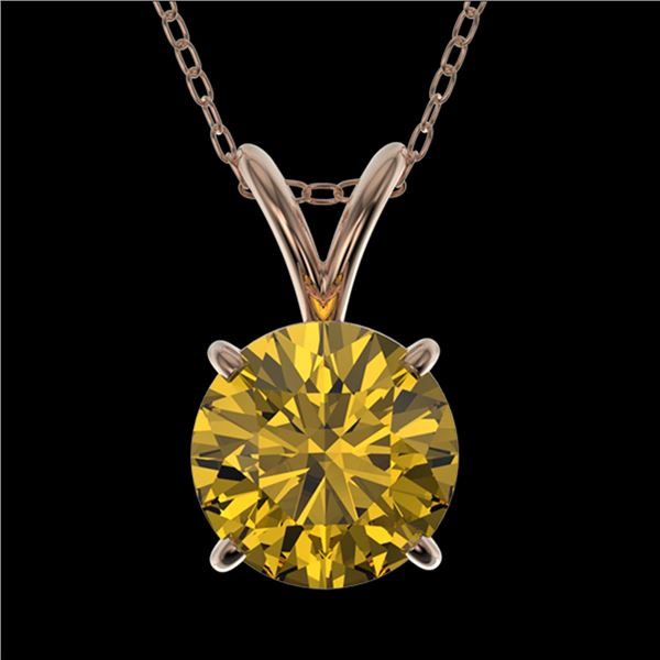 1.25 ctw Certified Intense Yellow Diamond Necklace 10k Rose Gold - REF-196M4G