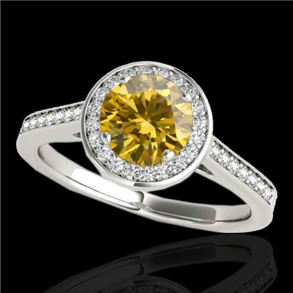 1.93 ctw Certified SI/I Fancy Intense Yellow Diamond Ring 10k White Gold - REF-327Y3X