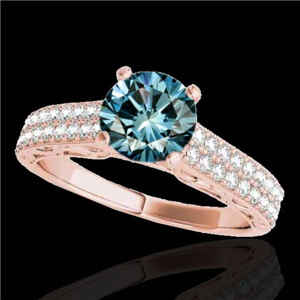 1.91 ctw SI Certified Blue Diamond Solitaire Antique Ring 10k Rose Gold - REF-185Y5X