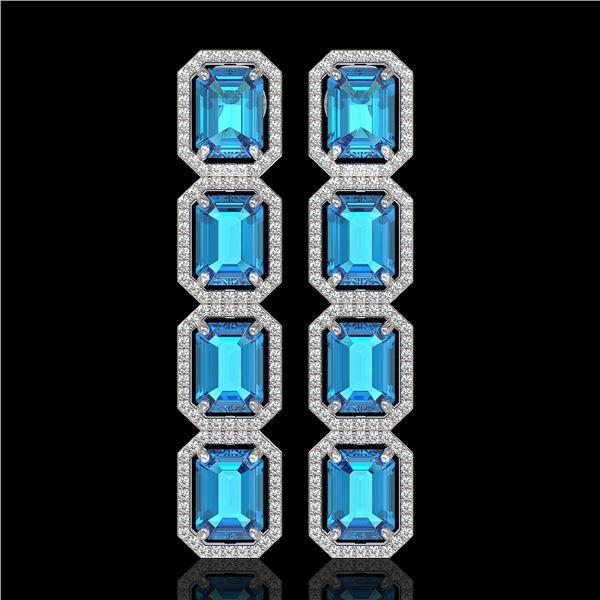 18.99 ctw Swiss Topaz & Diamond Micro Pave Halo Earrings 10k White Gold - REF-184R4K