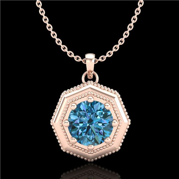 0.75 ctw Fancy Intense Blue Diamond Art Deco Necklace 18k Rose Gold - REF-100H2R