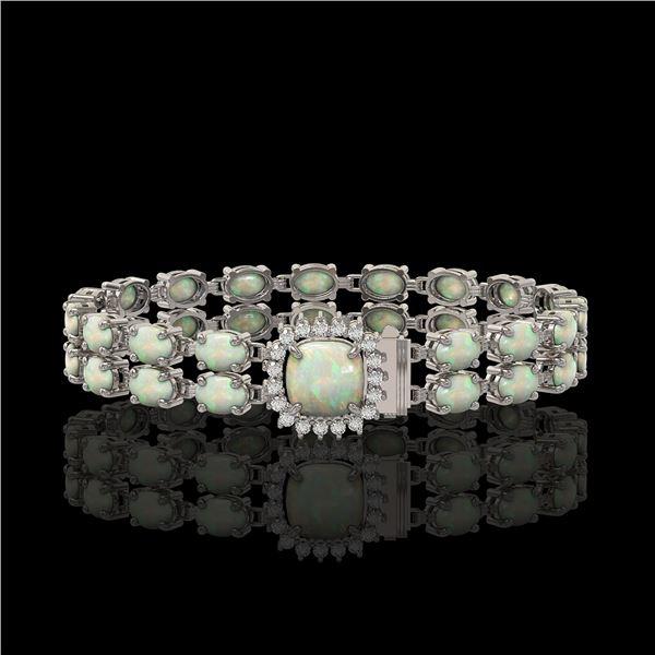 14.41 ctw Opal & Diamond Bracelet 14K White Gold - REF-245M5G