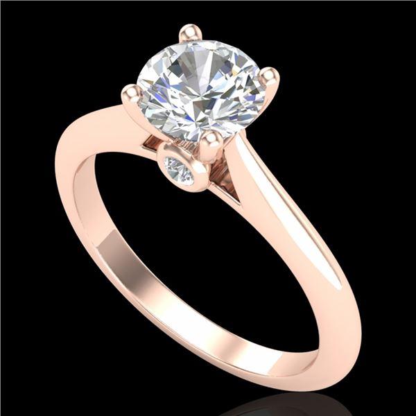 1.08 ctw VS/SI Diamond Solitaire Art Deco Ring 18k Rose Gold - REF-244N2F