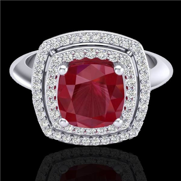 2.52 ctw Ruby & Micro VS/SI Diamond Certified Pave Ring 18k White Gold - REF-77A3N