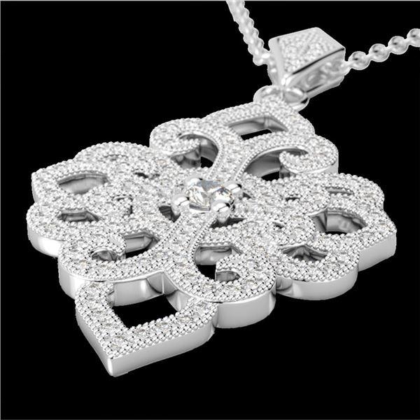 1.40 ctw Micro Pave VS/SI Diamond Designer Necklace 14k White Gold - REF-130A9N