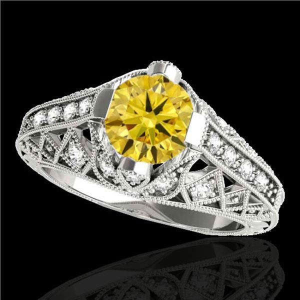 1.25 ctw Certified SI Intense Yellow Diamond Antique Ring 10k White Gold - REF-184F3M