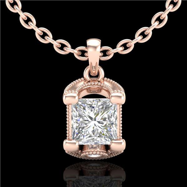 1.25 ctw Princess VS/SI Diamond Art Deco Necklace 18k Rose Gold - REF-330M2G